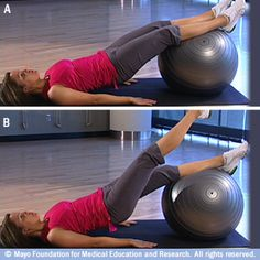 Core-strength exercises with a fitness ball