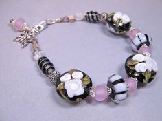 Lampwork Glass Bracelet  Black with White Roses and by BeadWire, $72.00