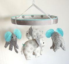 Shane and I are going to make a mobile like this! Aqua Grey Crib Mobile--Elephant Mobile--Nursery Mobile via Etsy LOVE THIS! Elephant Mobile, Elephant Nursery, Baby Elephant, Baby Boy Rooms, Baby Boy Nurseries, Baby Cribs, Grey Crib, Elephant Fabric, Baby Time