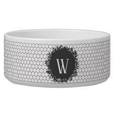 Black and White Beehive Pattern with Monogram Bowl - black gifts unique cool diy customize personalize