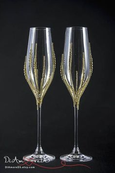 Personalized Wedding Champagne Glasses Bling Wedding Glasses