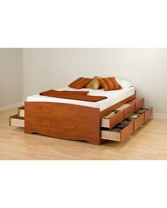 Prepac Cherry Tall Queen Captain?s Platform Storage Bed with 12 Drawers
