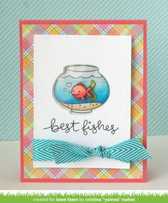 Lawn Fawn - Fintastic Friends, Stitched Rectangle Stackables, Perfectly Plaid, Guava cardstock _ water-filled shaker card by Yainea for Lawn Fawn Design Team