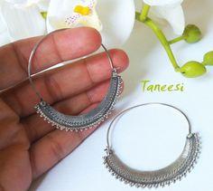 Silver HOOP Earrings handmade silver earrings by taneesijewelry