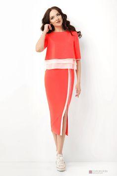 Юбочный костюм /комплект Lady Secret 1462 оранжевый неон
