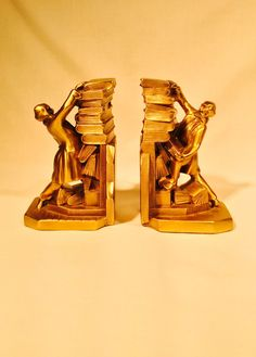 2 Bronze clad librarian bookends, Antique Bookends, K & O, library book ends, Bronze bookends, falling books, looks like brass