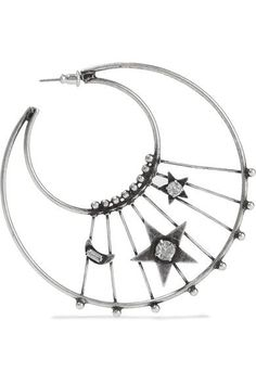 DANNIJO - Fynn Oxidized Silver-plated Swarovski Crystal Hoop Earrings - one size