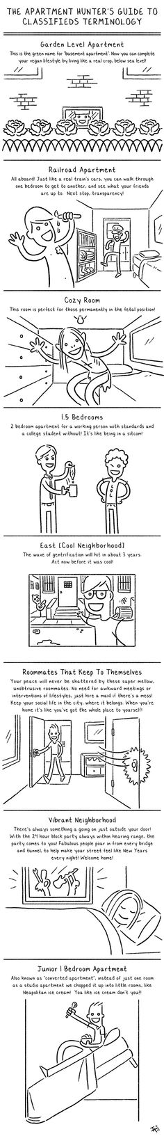 Apartment Hunter's Guide to Classifieds Terminology. In case you need it.