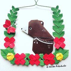 四角リースも創ってみた。 I created a square wreath.  #origami  #papercraft  #wreath  #square #garland  #paperflower  #diy #bear #hello #butterfly  #折り紙 #手作り #リース #ガーランド #四角 #ペーパークラフト #お花 #くま  #ちょうちょ  #こんにちはちょうちょさん #たかはしなな