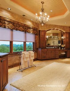 Turn your bathroom into a private oasis. Dim the lights, close the blinds and create the perfect atmosphere for deep relaxation. Home, Dream Bathrooms, House Styles, Lutron, House System, New Home Designs, Motorized Shades, New Homes, House