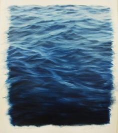 """Clifford Smith, Study for Ocean Blue Light, 2012, oil o paper, 22x18 American artist, b1951, realist, began """"ocean field"""" paintings in the 1990's"""