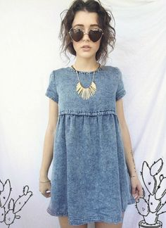 Love this denim dress. Cute Dresses, Casual Dresses, Cute Outfits, Summer Dresses, Summer Outfits, Looks Cool, Looks Style, Dress Skirt, Dress Up
