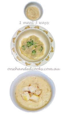 baby, toddler & family food: potato and leek soup 1 meal 3 ways #1meal3ways #onehandedcooks #babyfood #toddlerfood #kids #dinner #potatoandleek