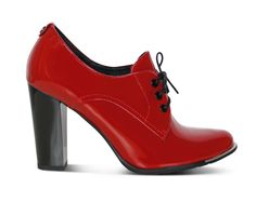 Red brogue, patent leather, red heel, that's vintage, fashion, shoes