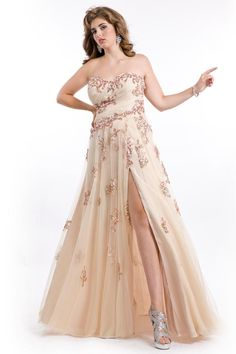 Wholesale Plus Size Special Occasion Dresses - Buy Scattered Beaded Applique Split Side Plus Size Prom Dresses Strapless Sweetheart Neckline Asymmetrical Pleated Bust Formal Plus Gowns 2014, $138.6   DHgate
