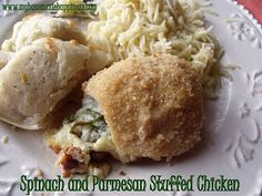 Spinach and cheese stuffed chicken.