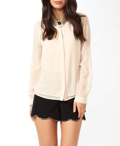 F21 Sequined collared layer shirt, cream and gold $29.80