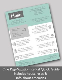 Vacation Rental Quick Guide, 2 pages editable with Corjl for short term Airbnb rental. Easy to edit Airbnb printable template. Airbnb Rentals, Vacation Home Rentals, Airbnb House Rules, Welcome Letters, Free Vacations, Edit Online, Air B And B, Business Plan Template, Guide