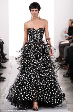 The piece de resistance at Oscar de la Renta's show yesterday was a sumptuous painted polka dot ruffle gown in black and white modeled by Ka...