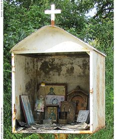 The contents of the roadside shrine outside Olympiada, Halkidiki, Macedonia, Greece. These shrines are raised by families of the victim or the survivor of a car accident in the spot of the accident. Religious Icons, Religious Art, Madonna, Prayer Garden, Home Altar, Greek Culture, Blessed Mother, Sacred Heart, Altered Art