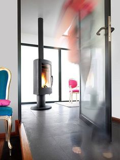 Invicta pharos wood stove.  This stove can rotate 360 degrees while burning.  Now how cool is that?