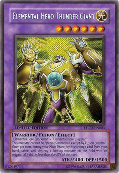 YuGiOh The Lost Millenium Elemental Hero Thunder Giant Rare Ultra Yugioh Monsters, Anime Monsters, Yu Gi Oh, Yugioh Decks, Pokemon Pictures, Summoning, Name Cards, Thunder, I Card