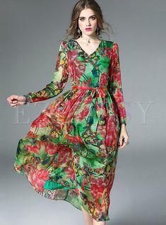 #NewYear #Ezpopsy - #Ezpopsy Bohemian V-neck Print High Waist Maxi Dress - AdoreWe.com