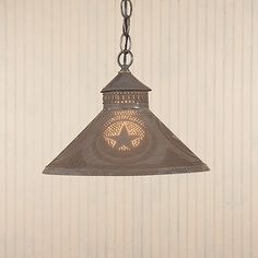 Stockbridge Hanging Shade Light with Country Primitive Punched Tin Star accent Country Lamps, Country Chandelier, Country Decor, Primitive Lighting, Star String Lights, Tin Star, Tin Walls, Cool Lighting, Cabin Lighting