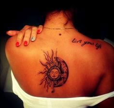 Awesome Upper Back Sun Tattoo for Girls