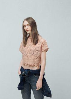 Openwork cotton blouse -  Women   MANGO USA