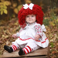 Raggedy Ann Wig Yarn Hat Available in all sizes by YumbabY on Etsy Halloween Masquerade, Masquerade Costumes, Halloween Doll, Cute Halloween Costumes, Ragedy Ann Costume, Blue Costumes, Raggedy Ann And Andy, Toddler Costumes, Doll Costume