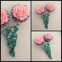 PICK SIZE Girly Dangle Plug Pink Rose Teal  Skeleton Plugs Pastel Goth Custom Made Plugs by Lovekillsboutique on Etsy https://www.etsy.com/listing/130914199/pick-size-girly-dangle-plug-pink-rose  For girlfriend