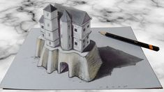 AWESOME CREATION IN 3D - How to Draw 3D Castle - 3D Trick Art