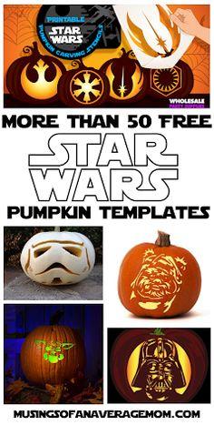More than 50 Free Star Wars Pumpkin carving templates Star Wars Halloween, Fun Halloween Crafts, Halloween Party Favors, Halloween Ideas, Holiday Crafts, Halloween Decorations, Pumpkin Templates Free Printable, Pumpkin Carving Templates, Free Printables