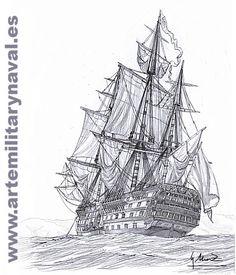 Pintura Militar y Naval: El Santísima Trinidad visto desde su aleta de babo...