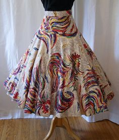 Festive 1950's hand painted Mexican circle skirt by wearitagain