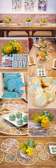 I love the citrus and blue color combo shown here!