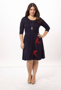 Bird Dress by Postcards, Available in sizes 0X-5X
