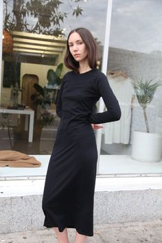 Flattering, long Sleeve, ankle length dress Slim Fit Available in onyx cotton jersey and blush linen/cotton blend