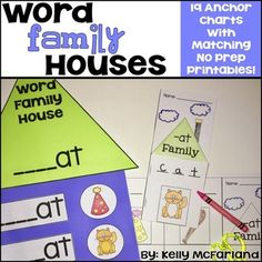 CVC Word Family House Anchor Charts and Printable Books! Rhyming Worksheet, Cvc Word Families, P Words, Teacher Lesson Plans, Short Vowels, Group Work, Hands On Activities, Anchor Charts, Mini Books