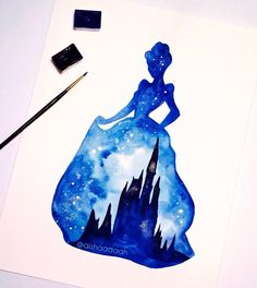 Made this Cinderella double exposure so I can make a video on how I do this double exposure stuff. You can watch the video of how I did this painting. I have the link in my bio :D _ #disney #cinderella #watercolour #painting