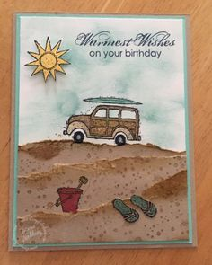 The sun is out, the temperature is up and I am wishing I was at the beach! Next best thing is playing with beach stamps. Today I am playing with one of my favorite retired stamps …