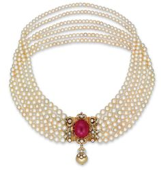 A six-strand natural pearl, 23.00 carat Burma ruby and diamond necklace