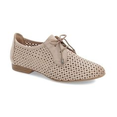 Tamaris 'Drene' Perforated Oxford featuring polyvore, women's fashion, shoes, oxfords, pepper suede, cutout oxford shoes, lace up oxfords, oxford lace up shoes, leather shoes and leather oxfords