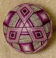 """Japanese Temari Ball  10"""" around  """"Shades of Lavender"""""""