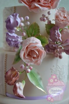 """""""Blush"""" #wedding cake design, decorated with #blush #pink #DavidAustin #rose and rosebuds, #sweetpeas and #snowberries, with royal icing piping reflecting the sugar #flowers."""