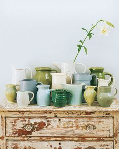 .green blue pottery.