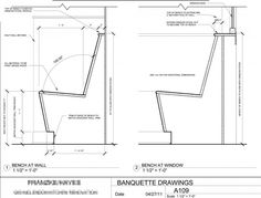 banquette seating dimensions - Google Search