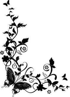 "Photo from album ""ЧЕРНЫЕ УЗОРЫ"" on Yandex. Stencil Patterns, Stencil Designs, Pattern Art, Embroidery Patterns, Bird Silhouette Art, Silhouette Design, Page Borders Design, Border Design, Flower Pattern Drawing"