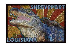 Alligator - Paper Mosaic - Lantern Press Artwork (Art Print Available) Paper Mosaic, Mosaic Art, Mosaics, Artist Canvas, Canvas Art, Vivid Imagery, Free Canvas, Stock Art, Antique Maps